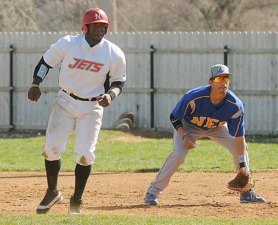 NOC Enid Jets' Sammy Terry makes a move toward second base during a game against Northeastern Oklahoma A&M College at Failing Park Saturday, March 30, 2013. (Staff Photo by BONNIE VCULEK)