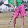 Landon Dixon hits his tee shot on No. 2 during championship flight play at the Dick Lambertz Memorial Enid 4-ball Golf Tournament at Meadowlake Golf Course Saturday, April 13, 2013. (Staff Photo by BONNIE VCULEK)