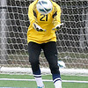 Enid goalkeeper, Grace Enmeier, catches a shot against Stillwater Tuesday at D. Bruce Selby Stadium. (Staff Photo by BILLY HEFTON)
