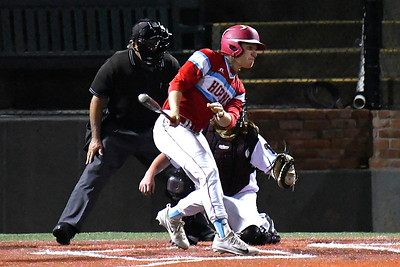 Chisholm's Brice Snapp hits a single to left against Pioneer during the championship game of the Merrifield Office Plus Invitational Saturday April 15, 2017 at David Allen Memorial Ballpark. (Billy Hefton / Enid News & Eagle)