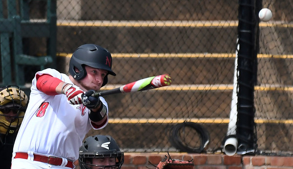 NOC Enid's Wesley O'Neill makes contact against Carl Albert Wednesday April 12, 2017 at David Allen Memorial Ballpark. (Billy Hefton / Enid News & Eagle)