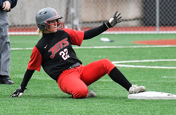 NOC Enid's Kaylon Dunn slides into second with a double against Murray State Tuesday April 4, 2017 at Failing Field. (Billy Hefton / Enid News & Eagle)