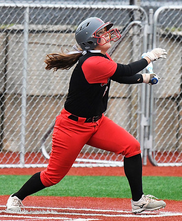 NOC Enid's Tori Danielson watches a home run clear the fence against Murray State Tuesday April 4, 2017 at Failing Field. (Billy Hefton / Enid News & Eagle)