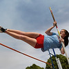 Chisholm's Danae Stidham competes in the pole vault during the Chisholm Invitational Friday April 13, 2018 at Chisholm High School. (Billy Hefton / Enid News & Eagle)