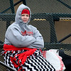 Megan Mansfield dressed for the weather as she watches the NOC Enid v Connors State baseball game Monday April 2, 2018 at David Allen Memorial Ballpark. (Billy Hefton / Enid News & Eagle)