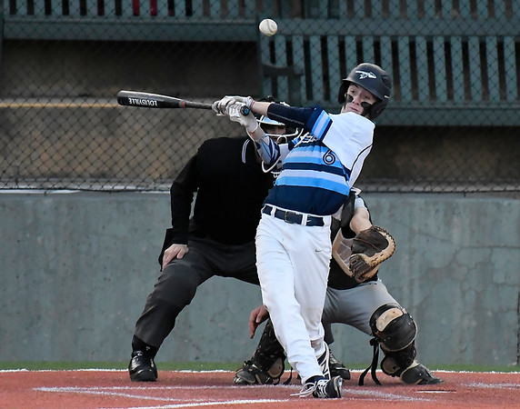Enid's Ambren Voitik gets hits a single against Putnam City Thursday April 19, 2018 at David Allen Memorial Ballpark. (Billy Hefton / Enid News & Eagle)