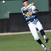 Enid's Connor Gore makes a throw to first against Putnam City Thursday April 19, 2018 at David Allen Memorial Ballpark. (Billy Hefton / Enid News & Eagle)