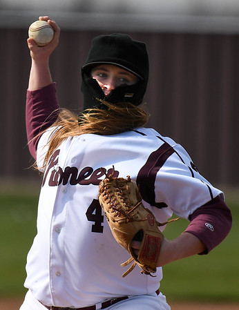 Pioneer's Gunner Coffey delivers a pitch against Chisholm Tuesday April 3, 2018 at Pioneer High School. (Billy Hefton / Enid News & Eagle)