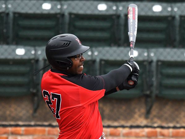NOC Enid's E.J. Taylor hits a solo home run against Connors State Monday April 2, 2018 at David Allen Memorial Ballpark. (Billy Hefton / Enid News & Eagle)