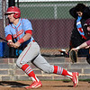 Chisholm's London McKee bats against Pioneer Tuesday April 3, 2018 at Pioneer High School. (Billy Hefton / Enid News & Eagle)