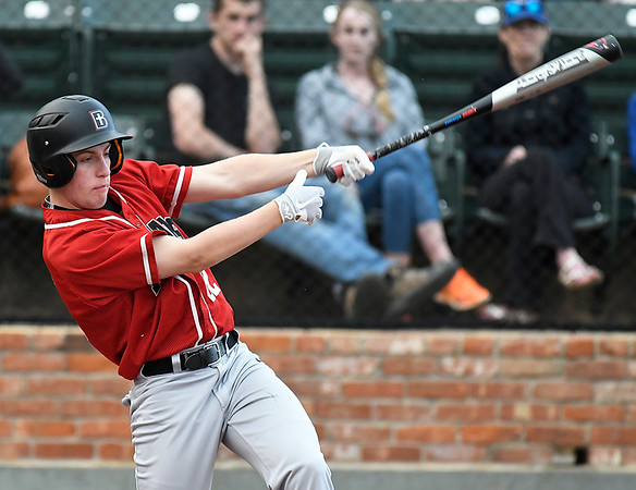 OBA's Connor Choate hits a single against Dover during the Merrifield Office Supply Tournament Friday April 13, 2018 at David Allen Memorial Ballpark. (Billy Hefton / Enid News & Eagle)