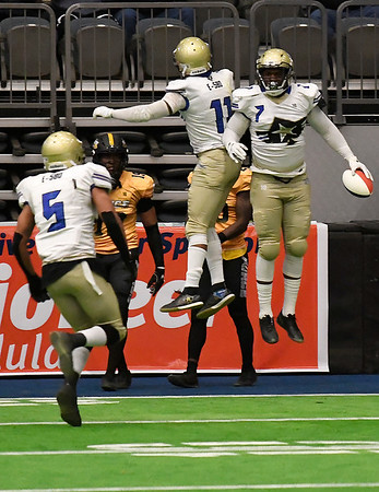 Flying Aces'Jordan Payne and Josh Floyd celebrate a touchdown against Wichita Saturday April 6, 2019 at the Stride Bank Center. (Billy Hefton / Enid News & Eagle)