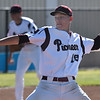 Pioneer's Holden Koontz delivers a pitch against Oklahoma Bible Academy during the district tournament Friday April 19, 2019 at Pioneer High School. (Billy Hefton / Enid News & Eagle)