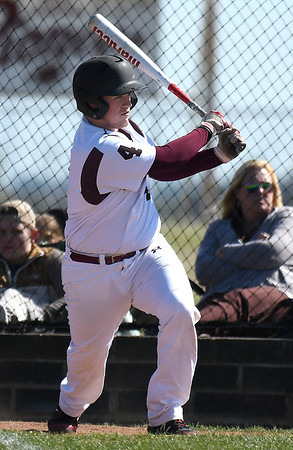 Pioneer's Gunner Coffey gets a base hit against Oklahoma Bible Academy during the district tournament Friday April 19, 2019 at Pioneer High School. (Billy Hefton / Enid News & Eagle)