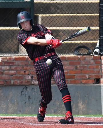 NOC Enid's Shane Nixon hits a single against Pratt CC Tuesday April 2, 2019 at David Allen Memorial Ballpark. (Billy Hefton / Enid News & Eagle)