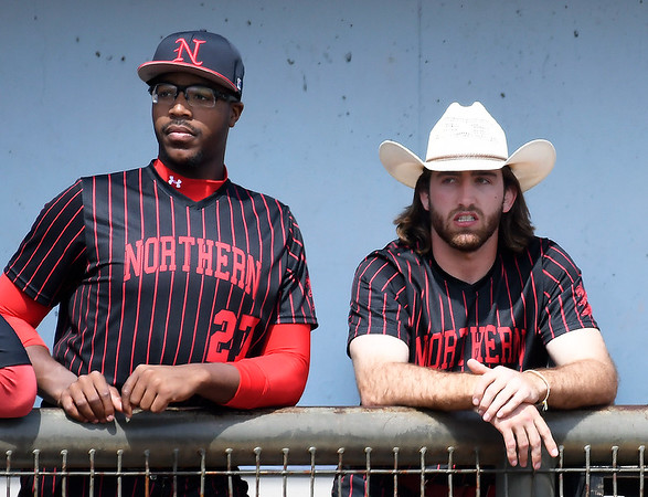 NOC Enid's E.J. Taylor and Seth Graves watch the action against Pratt CC Tuesday April 2, 2019 at David Allen Memorial Ballpark. (Billy Hefton / Enid News & Eagle)
