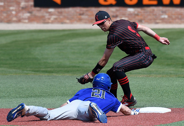 NOC Enid'sShane Nixon tries to tag out Pratt CC's Brenden Tauber Tuesday April 2, 2019 at David Allen Memorial Ballpark. (Billy Hefton / Enid News & Eagle)