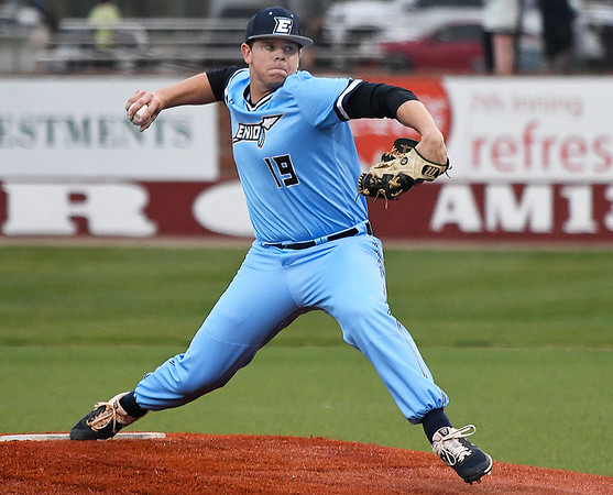 Enid's Colby Jarnagin delivers a pitch against Westmoore Friday April 5, 2019 during the Gladys Winter Tournament at David Allen Memorial Ballpark. (Billy Hefton / Enid News & Eagle)