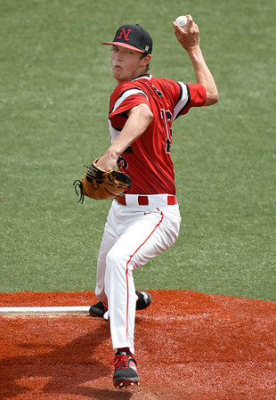 NOC Enid's Kalen McCullough throws a pitch against NOC Tonkawa Wednesday April 10, 2019 at David Allen Memorial Ballpark. (Billy Hefton / Enid News & Eagle)