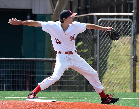 NOC Enid's Koy Priddy delivers a pitch against Southern Nazarene Wednesday April 17, 2019 at Failing Field on the NOC Campus. (Billy Hefton / Enid News & Eagle)