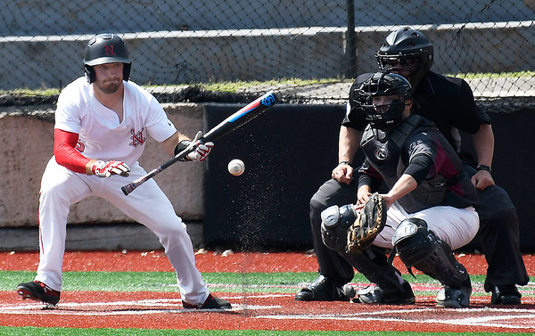 NOC Enid's Seth Graves heads to first after laying down a bunt against Southern Nazarene Wednesday April 17, 2019 at Failing Field on the NOC Campus. (Billy Hefton / Enid News & Eagle)