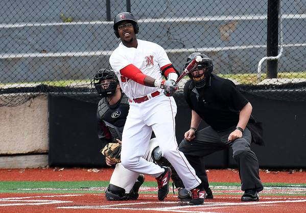 NOC Enid's E.J. Taylor hits a two run home run against Southern Nazarene Wednesday April 17, 2019 at Failing Field on the NOC Campus. (Billy Hefton / Enid News & Eagle)