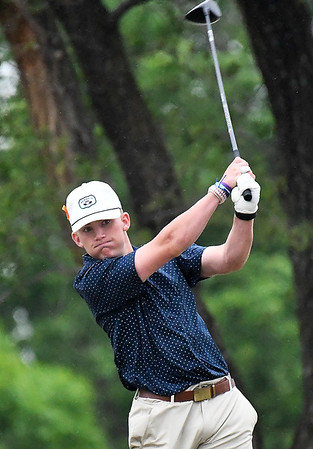 Enid's Jack Fossett hits his tee shot on the 7th hole during the regional tournament Monday April 29, 2019 at Meadowlake Golf Course. (Billy Hefton / Enid News & Eagle)