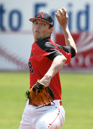 NOC Enid's Kaleb McCullough delivers a pitch against Carl Albert Wednesday April 3, 2019 at David Allen Memorial Ballpark. McCullough threw a complete game shut out for a 5-0 win. (Billy Hefton / Enid News & Eagle)