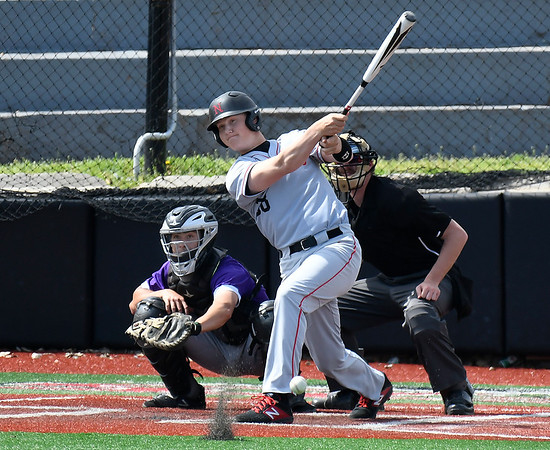 NOC Enid's Doug Regier hits a single against Butler CC Tuesday April 9, 2019 at Failing Field on the NOC Enid campus. (Billy Hefton / Enid news & Eagle)