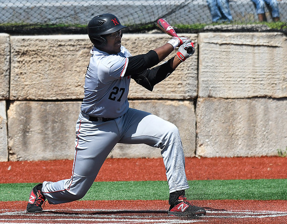NOC Enid's E.J. Taylor hits a single against Butler CC Tuesday April 9, 2019 at Failing Field on the NOC Enid campus. (Billy Hefton / Enid news & Eagle)