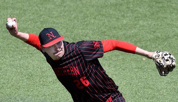 NOC Enid's Hayden Parker makes a throw to first after field a ball against Pratt CC Tuesday April 2, 2019 at David Allen Memorial Ballpark. (Billy Hefton / Enid News & Eagle)