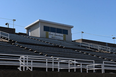 Press box at the Enid Speedway Tuesday, April 7, 2020. (Billy Hefton / Enid News & Eagle)