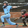 Enid's Jake McCool drives in a run against Putnam City North during the Gladys Winters Tournament Friday, April 2, 2021 ar David Allen Memorial Ballpark. (Billy Hefton / Enid News & Eagle)