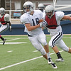 Aaron Beagle catches a pass during a scrimmage Saturday at D. Bruce Selby Stadium. (Staff Photo by BILLY HEFTON)