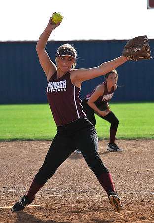 Pioneer's Megan Carson delivers a pitch during a scrimmage at Chisholm High School Wednesday AUgust 3, 2016. (Billy Hefton / Enid News & Eagle)