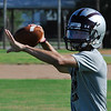 Garber's Christian Gomez throws a pass during practice Thursday August 11, 2016 at Garber High School. (Billy Hefton / Enid News & Eagle)