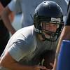 Pond Creek-Hunter's Zac Davis runs through drills during preseason practice Tuesday August 9, 2016. (Billy Hefton / Enid News & Eagle)