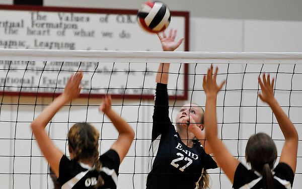 Enid's Sarah Johnson hits the ball against OBA Thursday August 18, 2016 at Oklahoma Bible Academy. (Billy Hefton / Enid News & Eagle)