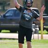 Pond Creek-Hunter's Derek Halcomb throws a pass during preseason practice Tuesday August 9, 2016. (Billy Hefton / Enid News & Eagle)