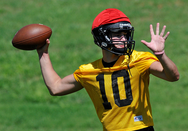 Alva's Mitch Meyer throws a pass during a 7 on 7 drill Wednesday August 10, 2016 at Alva High School. (Billy Hefton / Enid News & Eagle)