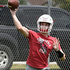 Caleb Haynie throws a pass during the first day of practice Monday August 7, 2017 at medford High School. (Billy Hefton / Enid News & Eagle)
