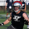 Brock Anderson in a 7 on 7 drill during the first day of practice Monday August 7, 2017 at D. Bruce Selby Stadium. (Billy Hefton / Enid News & Eagle)
