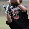 Fairview's Michael Wheeler catches a pass during practice Wednesday August 9, 2017. (Billy Hefton / Enid News & Eagle)