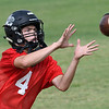 OBA's Traber Smithson catches a pass during the first day of practice Monday August 7, 2017 at D. Bruce Selby Stadium. (Billy Hefton / Enid News & Eagle)