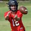 OBA's Luke Porter catches a pass during the first day of practice Monday August 7, 2017 at D. Bruce Selby Stadium. (Billy Hefton / Enid News & Eagle)
