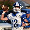 Covington-Douglas' Weston Carl throws a pass against Timberlake Thursday August 23, 2018 at Timberlake High School in the season opener for both teams. (Billy Hefton / Enid News & Eagle)