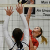 Chisholm's Cameron Madsen hits the ball against Enid's Gabi Cotarelo Tuesday August 21, 2018 at the NOC Mabee Center. (Billy Hefton / Enid News & Eagle)