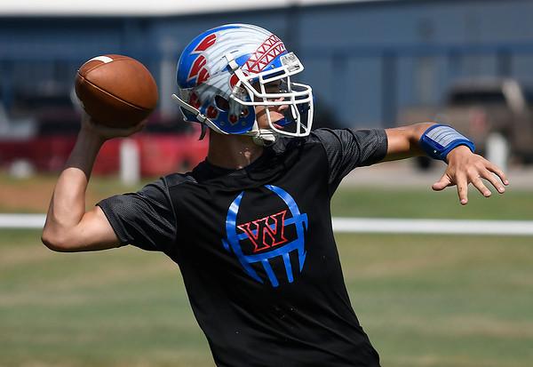 Waukomis' Matt Buck throws a pass during practice Thursday August 30, 2018 at Waukomis High School. (Billy Hefton / Enid News & Eagle)