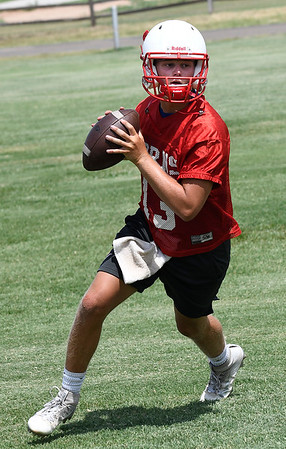 Chisholm's Braden Meek goes through drills on the first day of practice Monday August 6, 2018 at Chisholm High School. (Billy Hefton / Enid News & Eagle)