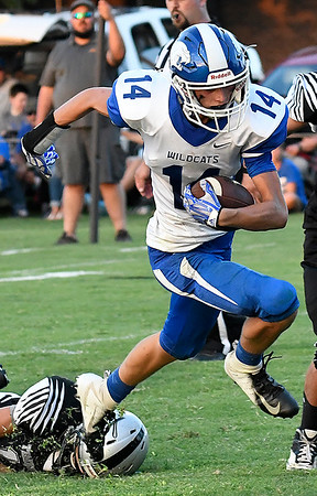 Covington-Douglas' Dawson Aldrich scores a touchdown against Timberlake Thursday August 23, 2018 at Timberlake High School in the season opener for both teams. (Billy Hefton / Enid News & Eagle)